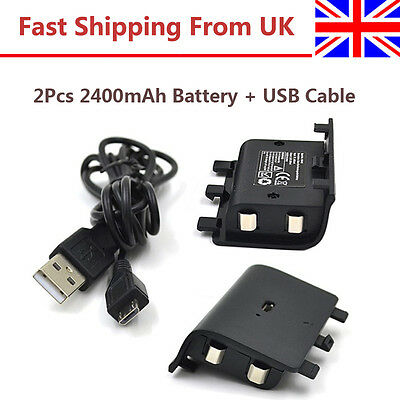 2Pcs 2400mAh Rechargeable Battery Pack + USB Cable For Xbox One Play And Charger