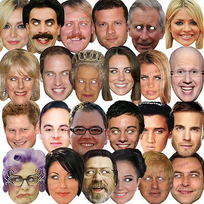 20 X Celebrity Face Party Mask Fancy Dress Hen Birthday Masks Fun Stag Do Pack