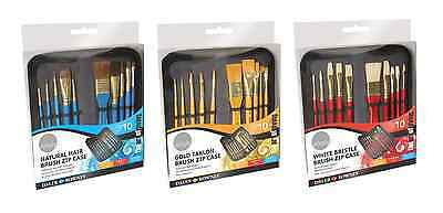 Daler Rowney Artist Brush Zip Up Case & 10 Paint Brushes Oil Acrylic Watercolour
