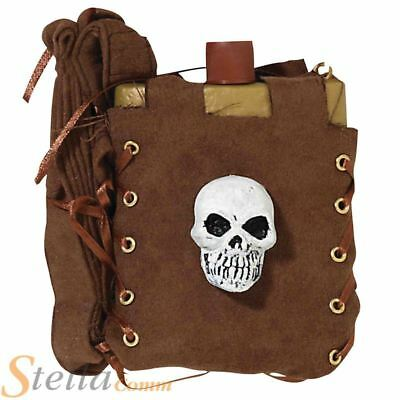 Brown Pirate Skull Hip Flask Fancy Dress Costume Accessory Prop