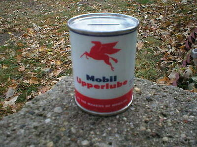 MOBIL Metal CAN BANK UPPERLUBE MOTOR OIL PAPER LABEL