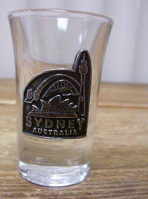 Marvelous Australia Sydney Pewter Metal Clear Shot Glass Barware Bar