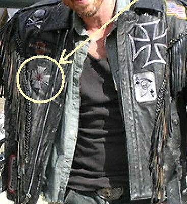 AS SEEN MOVIE WILD HOGS BIKER GANG LEATHER JACKET CHEST PATCH: Spider Iron Cross