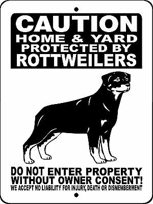 ROTTWEILER GUARD DOG Aluminum Sign Dog  WITH VINYL GRAPHICS APPLIED 2496HYRW