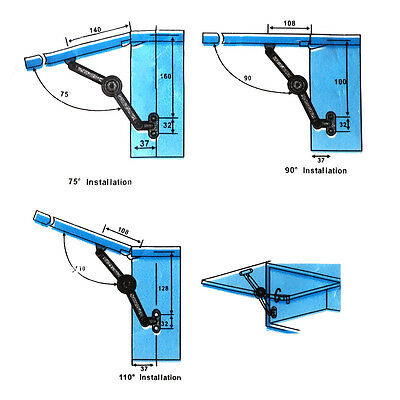 2 x Lid Stays / Lift Up Kitchen Cabinet Cupboard Hinge Soft Closing 5 Kg