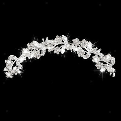 Silver Bridal Wedding Flower Crystal Diamante Hair Comb Clip Slide Headpiece