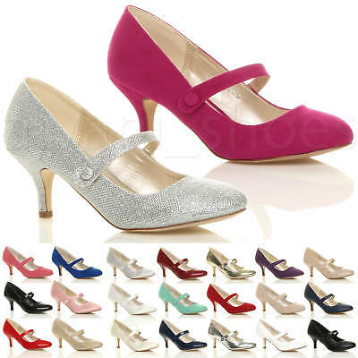 Womens Ladies Low Mid Heel Mary Jane Strap Work Party Court Shoes Pumps Size