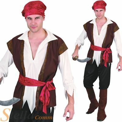 Mens Caribbean Pirate Captain Costume Adult Halloween Fancy Dress Costume Outfit