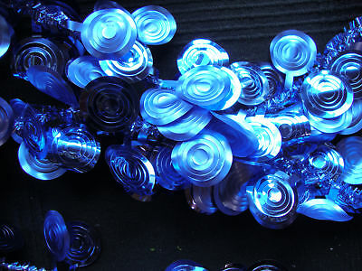 Bright Royal Blue Foil Discs Christmas Tinsel Garland Tree Decoration