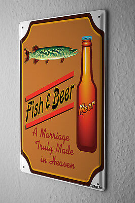 Tin Sign Food Restaurant Decoration Beer and fish Metal Plate