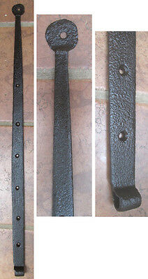 "Vintage  Iron 32""  PENNY STRAP HINGE,  Hand Wrought, Barn,Door, C.1850"