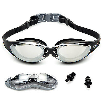 Swim Goggles Cloud 9 Sleek Silicone Strap Anti Fog with Case and Ear Plugs Adult