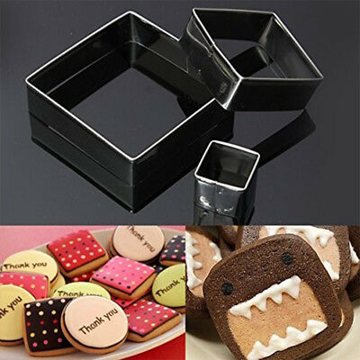 Durable Material 3pcs Square Mousse Ring Cake Cookie Cutters Metal Baking Molds