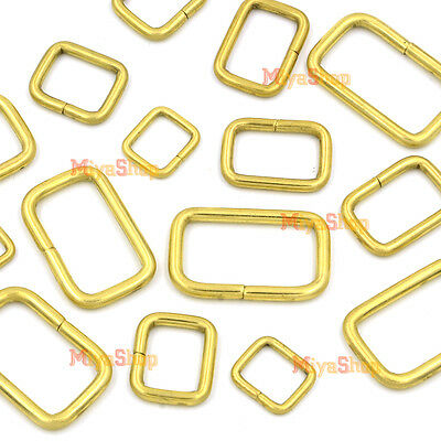 Brass Rectangle Rings Buckles Belt Webbing Ribbon 16mm 20mm 25mm 35mm 40mm DIY