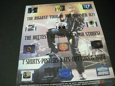 U2 The Biggest Tour Of The Summer 1992 PROMO POSTER AD mint condition