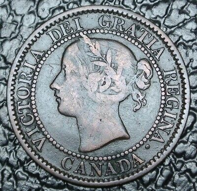 OLD CANADIAN COIN 1859/8 (Wide 9) - ONE CENT-LARGE CENT-Victoria-Medal alignment