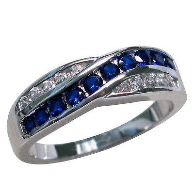 Stylish Sapphire 925 Sterling Silver Ring Size 5-10