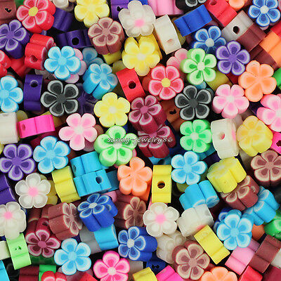 200pcs Mixed Polymer Fimo Clay Plum Flower Loose Spacer beads 8mm SL97
