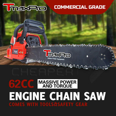 """Teammax Petrol Commercial 20"""" 20 inch 62cc Chainsaw Chain Saw e-Start"""