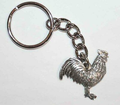 ROOSTER Bird Fine Pewter Keychain Key Chain Ring USA Made