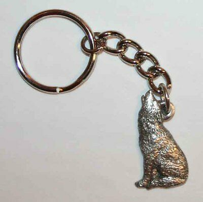 WOLF Howling Fine Pewter Keychain Key Chain Ring USA Made