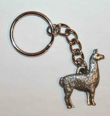 LLAMA Fine Pewter Keychain Key Chain Ring Fob USA Made