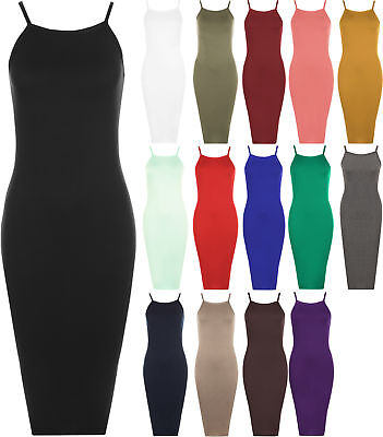 New Womens Sleeveless Strappy Plain High Neck Stretch Bodycon Ladies Midi Dress
