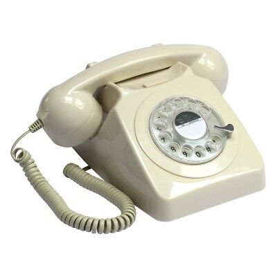 GPO 746 Telephone - Retro Desk Phone with Fully Working Rotary Dial - Ivory