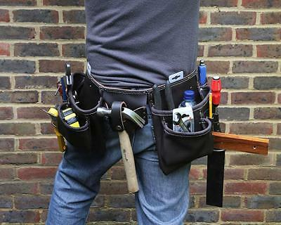 Hilka Heavyy Duty Oil Tanned Leather Tool Belt 2 Hammer Loops Pouches Tape Hold