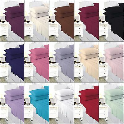 Polycotton Plain Dyed Fitted Sheet,Flat Sheet,Pillowcases, Single,Double,King,SK