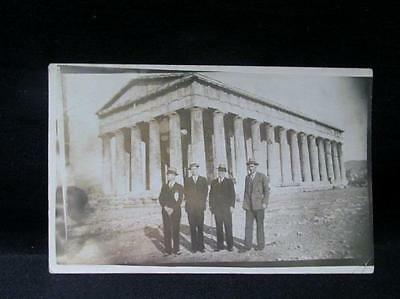 Four Men in front of Parthenon Real Photo Early 1900s Postcard