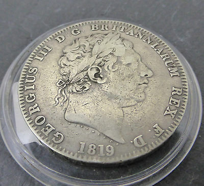 1819 British George Iii Sterling Sivler Crown Coin