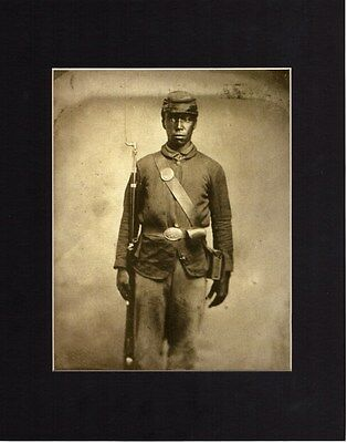 African American Civil War Soldier Photo Matted