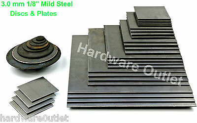 3.0mm MILD STEEL BLANK DISCS or PLATES Guillotine & Laser Cut - UK Manufactured