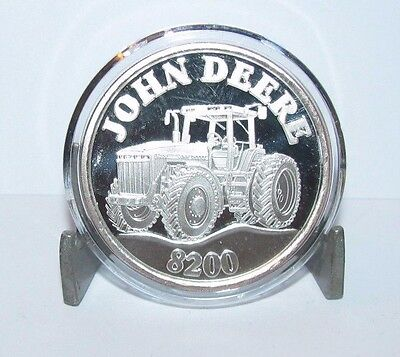 John Deere 8200 Tractor .999 Pure Fine Silver Round 1 Troy Oz Collector Coin jd
