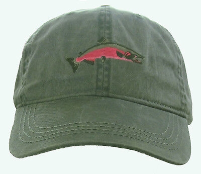 Coho Salmon Embroidered Cotton Cap NEW Hat Fish Hat