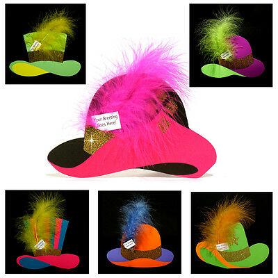 36 Hat Shaped Greetings Cards Topped with real Feathers EC0032