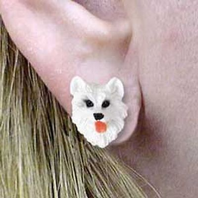 American Eskimo Tiny One Dog Head Post Earrings Jewelry