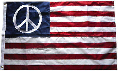 3x5 Ft USA PEACE American Flag Embroidered Nylon US World Sign Banner