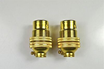2 Brass Small Bayonet B15 Fitting Bulb Holder Lamp Holder C/W Shade Ring 10Mm L5