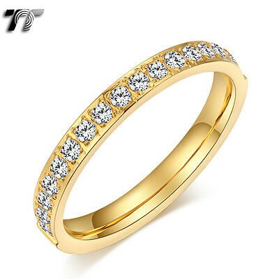 TT 14K Gold GP 2.5mm S.Steel Inlay CZ Wedding Band Ring Size 3-9 Pinky(R347) New