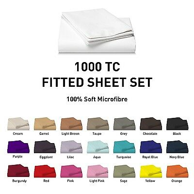 1000TC Microfiber Fitted Sheet Set [NO FLAT] Single/Double/Queen/Super/King Size