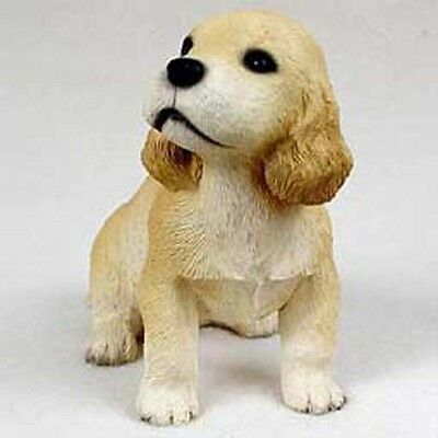COCKER SPANIEL Blond Dog Puppy Love Hand Painted Collectable Figurine Statue