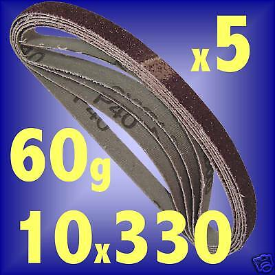 5pk 10x330 SANDING BELTS 10 mm x 330mm 60G air sander