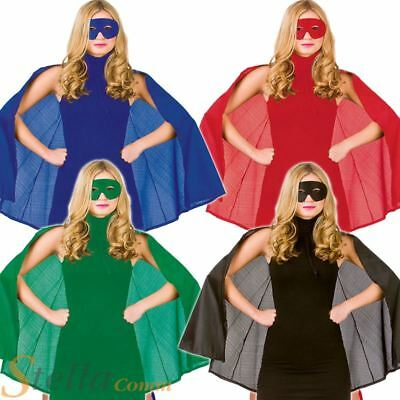 Ladies Adult Superhero Mask & Cape Halloween Fancy Dress Costume Outfit