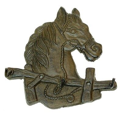 "CAST IRON HORSE HEAD,KITCHEN-KEY ,ECT: 3 HOOKS. ( 6"" x 6""  X 1.3 ) PRIORITY S&H"