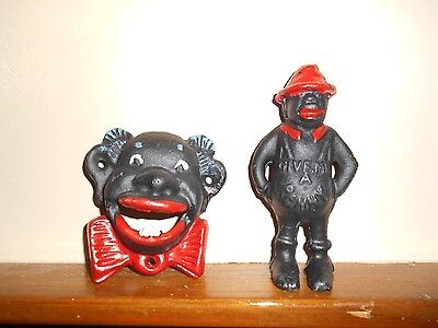 Cast Iron Black Americana Give Me A Penny Bank; Clown Bottle Opnr: *great-Price$