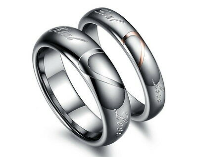 Tungsten Carbide Women or Mens Wedding Engagement Ring Band Set Love Engraved M4