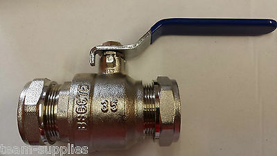 Lever Ball Valve 35Mm Blue Handle Compression Full Large Bore Wras Approved