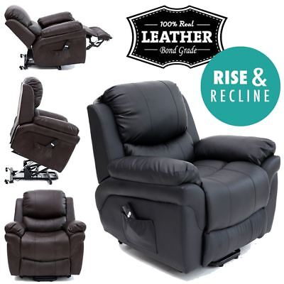 Madison Elecrtic Rise Recliner Real Leather Armchair Sofa Home Lounge Chair
